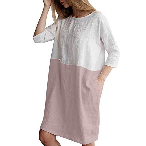 Lialbert T-Shirt-Kleid Leinenkleid Dame Rundhals Frauen ÄRmeln Rundhalsausschnitt Elegant Etuikleider Minikleid Freizeit Lockerer Rock Rosa