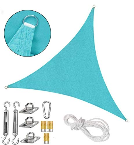 DIMPLEYA Anti-UV Sun Shade Sail Triangle Impermeable Garden Sun Shade Spade Canopy en 95% UV Block D-Ring Secure Rope Garden Patio Party