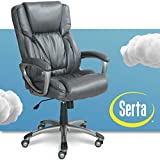 Serta Executive Office Adjustable Ergonomic Computer Chair with Layered Body Pillows, Waterfall Seat Edge, Bonded Leather, Gray