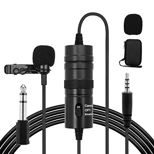 HALOVIE Microfono Solapa Lavalier Condensador Omnidireccional 6M Micrófono de Corbata Profesional Compatible para Cámaras, Móviles, Grabadoras de Audio, Mezcladores, Computador Portátil, PC