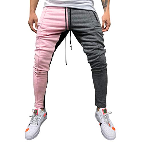 Pantalones Hombre Chandal Militar Moda 2019 Pantalones de chándal de Color Patchwork Sueltos para Hombre Pantalon de Lazo Joggers Pantalón de Trabajo Elasticos