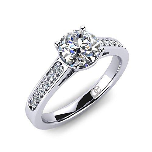 Ring Adoree + Ringe Verlobungsringe in 925 Sterling Silber + Ring Verlobungsring SWAROVSKI Elements Zirkonia Stein + Solitär Silberring für Damen Frauen Freundin + Diamant (58 (18.5))