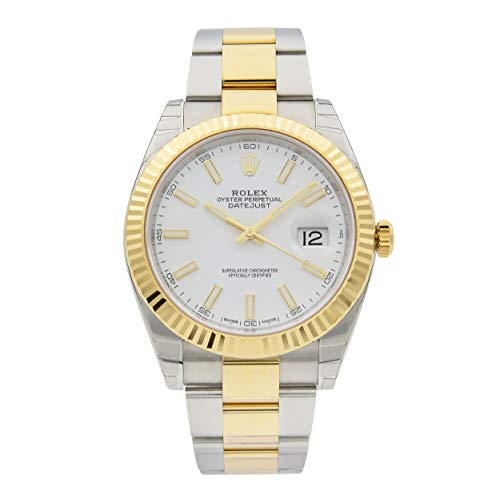 Rolex Datejust 41blanco Dial Acero y 18K amarillo oro ostra Mens Reloj 126333WSO