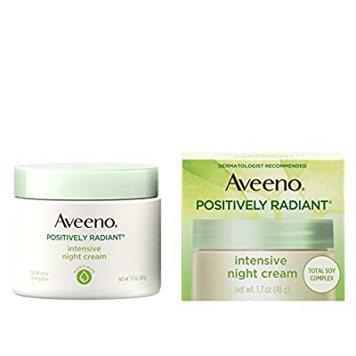Aveeno Positively Radiant Intensive Moisturizing Face & Neck Night Cream for Tone & Texture, Total Soy Complex & Vitamin B3, Oil-Free, & Hypoallergenic, 1.7 oz from Johnson & Johnson Consumer Inc.