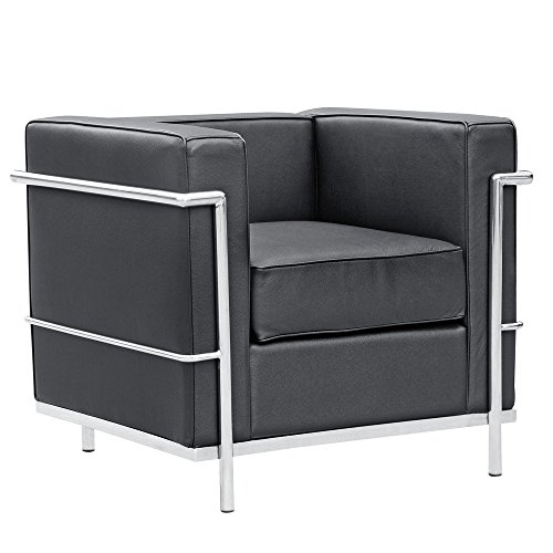 Mid Century Modern Classic Le Corbusier LC-2 Style Replica Cube Sofa Chair (1 Seater) with Premium Black PU Leather and Encasing Stainless Steel Frame