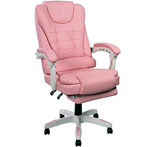 Trisens Schreibtischstuhl Design Bürostuhl Racing Chair Chefsessel Gamingstuhl Fußstütze, Farbe:Rosa