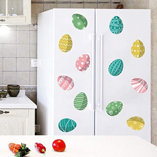 cookin Una serie de pegatinas de Pascua de colores con huevos de colores, pegatinas autoadhesivas para ventanas de pared, pegatinas decorativas para fiestas de Año Nuevo 2021