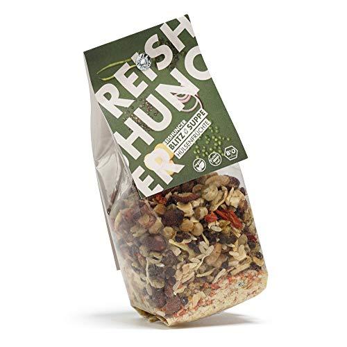 Reishunger Blitz-Suppe Hülsenfrüchte (150 g) Bio Fertigsuppe mit Vollkornreis, Bohnen, Linsen und Erbsen - erhältlich als 1er bis 8er Pack