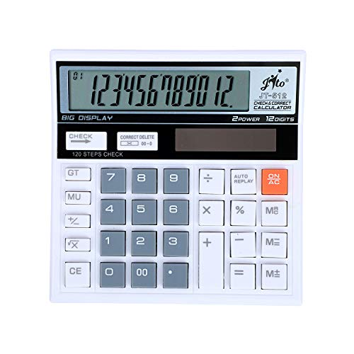 Jito 12 Digits JT-512 White- Grey 1 Year Warranty Electronic Calculator