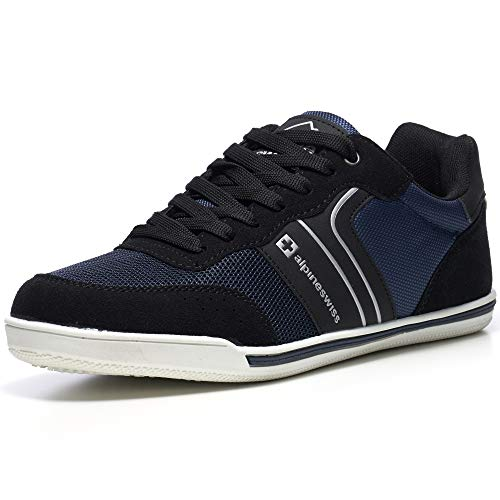 Alpine Swiss Liam Mens Fashion Sneakers Suede Trim Low Top Lace Up Tennis Shoes NVY 10 M US