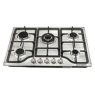 """METAWELL HS5704 30"""" Stainless Steel 5-Burner Gas Cooktop with Regulator valve, Built-in LPG/NG Gas Cooktop Hob Cooker COOK TOPS,Iron Burner Kitchen Gas Cooking, 30 Inch, Silver"""