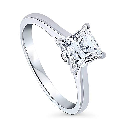 BERRICLE Rhodium Plated Sterling Silver Solitaire Promise Wedding Engagement Ring Made with Swarovski Zirconia Princess Cut 1.3 CTW Size 6