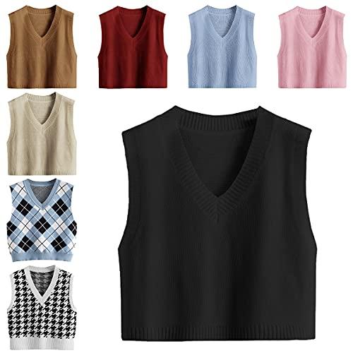 Romwe Women's Knit Sweater Vest Women Crop Y2K Sweater Vests V Neck Sleeveless JK Uniform Pullover Knitwear Tops Black XL