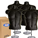 4-Pack Male Mannequin Torso, Dress Form Hollow Back Body Tshirt Display, w/Stand for Counter by EZ-Mannequins for Craft Shows, Photos or Design, Easy to Assemble and Store, S-M Clothing Sizes, Black.