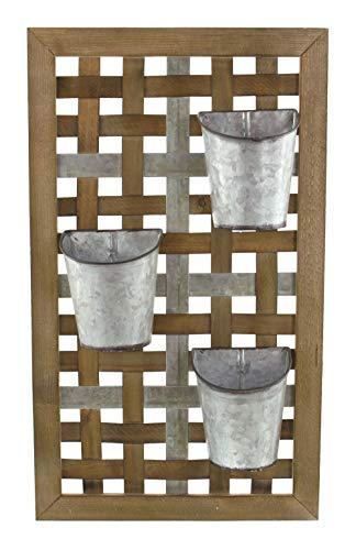 Pot à plantes mural, déco nostalgique style campagnard, cadre en bois marron avec jardinières en métal amovibles