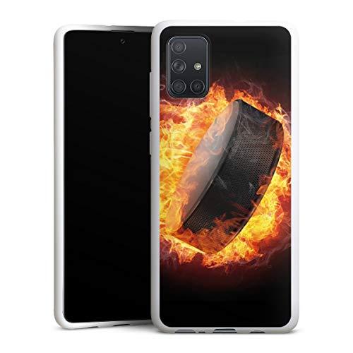 DeinDesign Silikon Hülle kompatibel mit Samsung Galaxy A71 Case weiß Handyhülle Eishockey Feuer