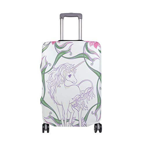 Magical Unicorn Horse with Pink Floral Luggage Cover Baggage Suitcase Travel Protector Size M