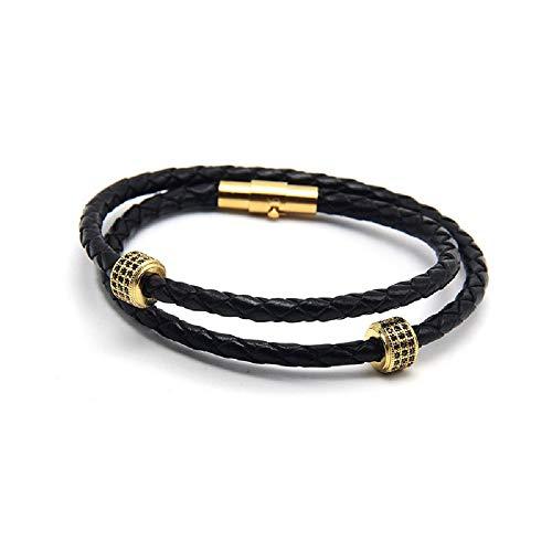 Echtlederarmband für Männer Armband Herren Mit Magnet Verschluss Edelstahl Echtleder Unisex Tolle Geschenkidee