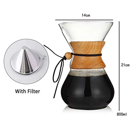 FGHSD koffiekan 400 ml 600 ml 800 ml Pyrex koffiezetapparaat met roestvrijstalen filterpot