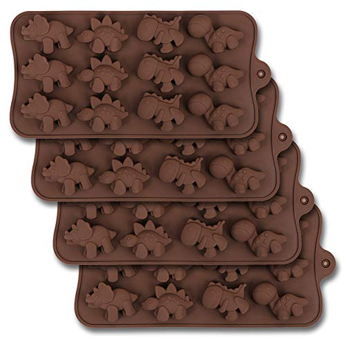 homEdge 12-Cavity Dinosaur Chocolate Mold, Set of 4PCS Non Stick Silicone Dinosaur Mold for Candy Chocolate Jelly, Ice Cube