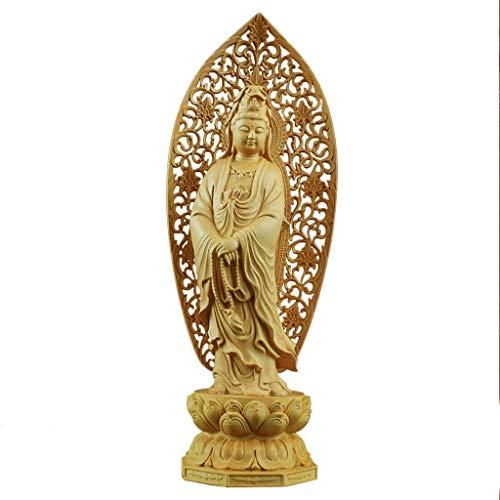Tingting1992 Decoración de la Estatua de Buda Guanyin Estatua de Madera Estatua de Buda Crafts Home Living Dedicado for el Feng Shui y Decoración Segura Esculturas de Buda