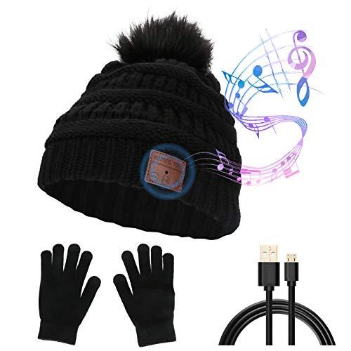 CestMall Cappello e Guanti da Musica Bluetooth, Cuffie Senza Fili Cuffie con Altoparlanti per Musica Invernale Cappello Berretto da Corsa in Maglia, Cuffia Bluetooth Lavabile in Vivavoce Adatto