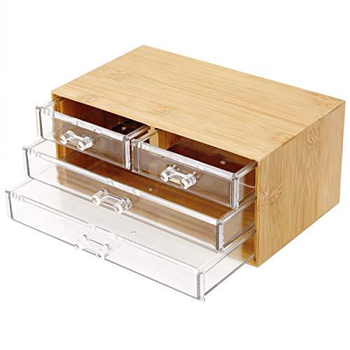 Macallen Organizzatore di Trucco Legno Organizer Gioielli Cosmetici Contenitore di Finitura Antipolvere (4 cassettiere Traparente)