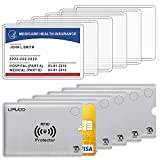 """[PACKAGES]: 6 pack clear medicare protector card sleeves and 6 pack RFID blocking card sleeves. [PORTABLE & CONVENIENT]: 3.74"""" x 2.4"""" demensions, fits with 3.54"""" x 2.24"""" card size [USAGE]: precision made for the new medicare cards,social security car..."""