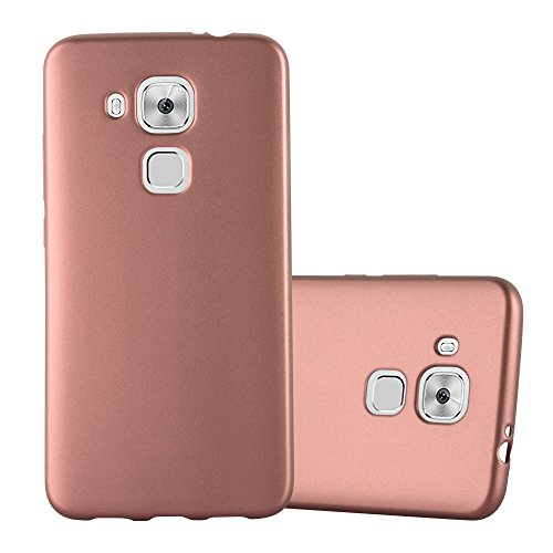 Cadorabo Hülle für Huawei NOVA Plus - Hülle in METALLIC Rose Gold – Handyhülle aus TPU Silikon im Matt Metallic Design - Silikonhülle Schutzhülle Ultra Slim Soft Back Cover Case Bumper