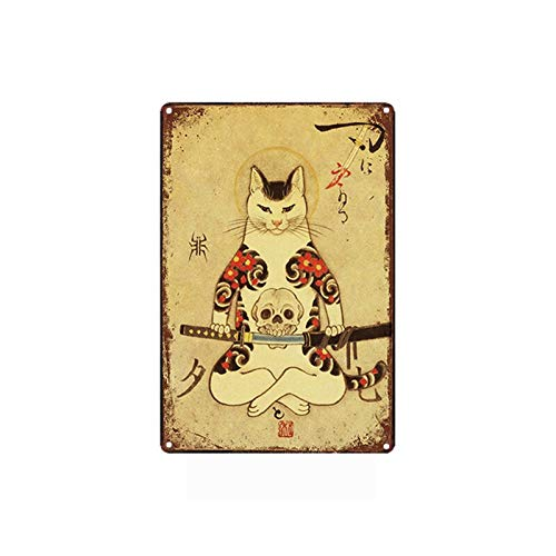 Samurai - Placa de metal rústica, diseño de calavera japonesa con diseño de calavera de gato, estilo retro, para decoración de pared, 30,5 x 20,3 cm