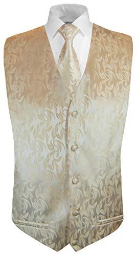 Paul Malone Paul Malone Hochzeitsweste + Krawatte Cappuccino floral - Bräutigam Hochzeit Anzug Weste Gr. 64 5XL