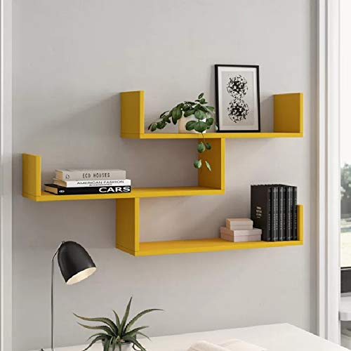 Prateleiras para livros amarelo nayan mix 3 pecas 50x10x20