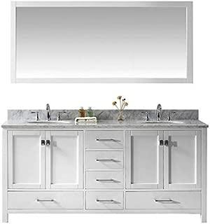 Virtu USA Caroline Avenue 72 inch Double Sink Bathroom Vanity Set in White w/Round Undermount Sink, Italian Carrara White Marble Countertop, No Faucet, 1 Mirror - GD-50072-WMRO-WH