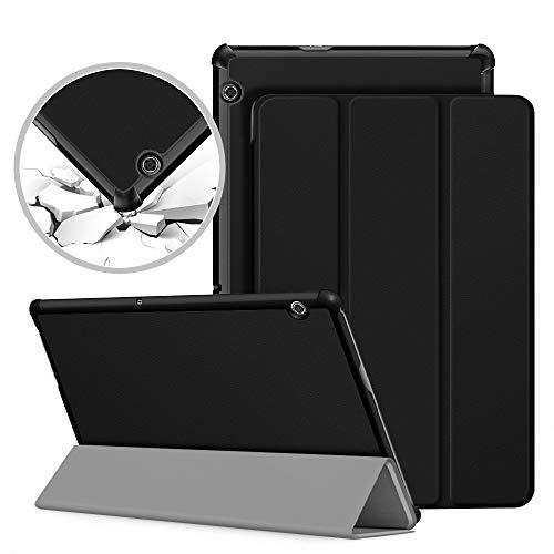 VAGHVEO Custodia Cover per Huawei MediaPad T5 10, Slim Smart Case Protettiva Pelle PU Stand Flip Copertina per Huawei Mediapad T5 10 10.1 Pollice 2018 tavoletta, Nero