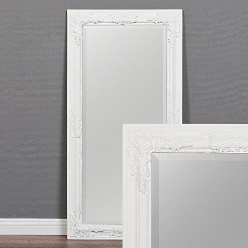 LEBENSwohnART Wandspiegel BESSA weiß-pur 100x50cm barock Design Spiegel pompös Holzrahmen