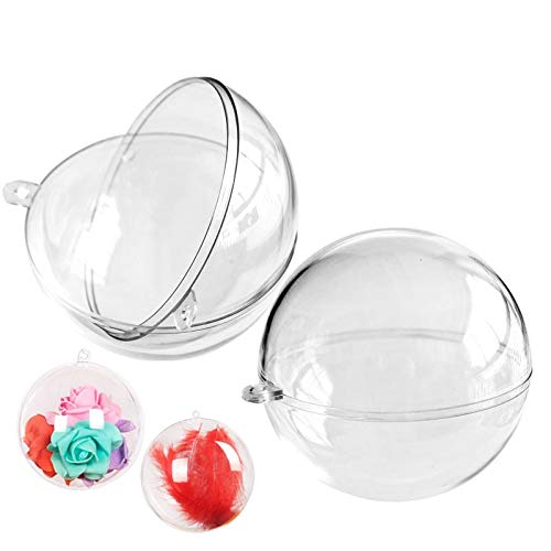 XIANMU 10 Pack Clear Plastic Fillable Ornament Balls 80mm Christmas DIY Craft Ball for Christmas Party Decorations DIY Bath Bomb Mold Set
