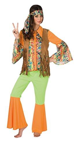 ,Karneval Klamotten' Groovy 60er 70er Jahre Hippie Peace Retro Karneval Kostüm Damen-Anzug inkl. Hemd Weste Schlaghose Stirnband Größe 40/42