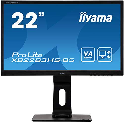 "iiyama ProLite XB2283HS-B5 54,7cm (21,5\"") VA LED-Monitor Full-HD (VGA, HDMI, DisplayPort) Höhenverstellung, Pivot, schwarz"
