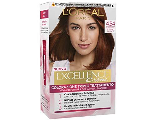 L'Oréal Paris Excellence Crema Colorante Triplo Trattamento Avanzato, 4.54 Castano Mogano Ramato
