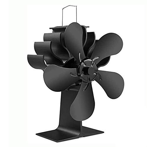 Estufa de leña de 5 aspas Ventilador para chimenea, ventiladores pequeños Motores silenciosos Circula aire calentado Transformación calor Ahorro energía eficiente, para estufas gas/pellets/quemadores