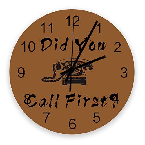 Reloj de pared redondo de 10 pulgadas, teléfono retro con palabras divertidas, relojes de pared de cuarzo silenciosos sin tictac que funcionan con pilas, ¿llamó primero para la decoración del hogar, l
