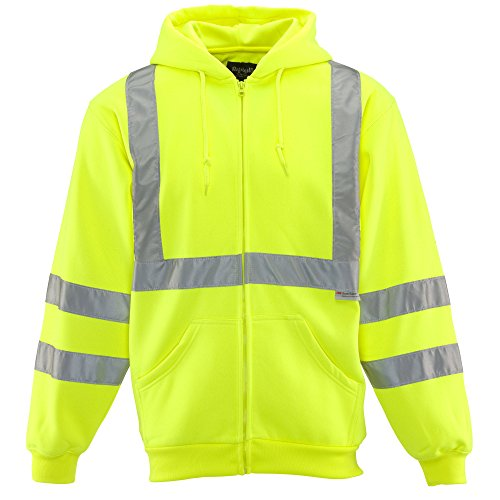 RefrigiWear HiVis Hooded Sweatshirt - ANSI Class 2 High Visibility Lime With Reflective Tape Large