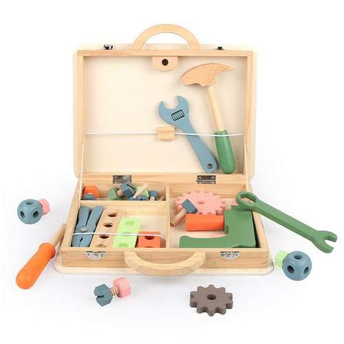 Earlyad Holz Werkzeug Für Kinder, Werkzeugkasten Kompakter Werkzeugkoffer Handwerker Set, Holzschrank...