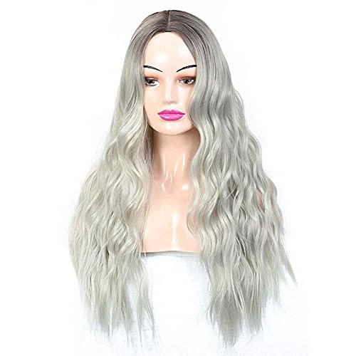 FXBFAG Blanco Peluca de Oro Señoras Grande Ondulado Largo y Rizado Pelo Oscuro raíces de la Moda Natural Adecuado para Las señoras de Halloween