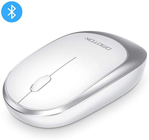 OMOTON Wireless Bluetooth Mouse, Ultra-thin Portable Bluetooth Mouse(BT5.0) for Computer, Laptop, Tablet and More, Support iPadOS, Mac OS, iOS, Windows, Linux, Android System, Not Rechargeable, White