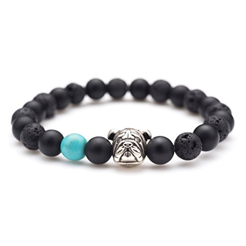 Karseer Black Matte Onyx and Lava Energy Stone Mala Beaded Stretch Bracelet with Bulldog Mascot Charm and Birthstone Embellishment, Handmade Friendship Jewelry Gift Unisex 7', Antique Silver