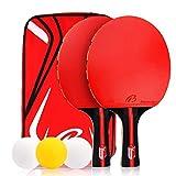 Zorara Ping Pong, Palas Ping Pong, Raquetas de Tenis de Mesa, Raqueta de Ping Pong, 2 Raquetas + 3 Pelotas + 1 Bolsa, Set de Ping Pong, Portátil Conjunto de Tenis de Mesa para Interior al Aire Libre