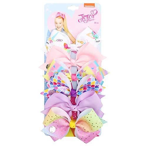 Lot de 6 pinces à cheveux Jojo Siwa Jojo - Nœuds imprimés arc-en-ciel - Nœud ruban pour filles - Accessoires pour cheveux pour enfants (couleur : 8)