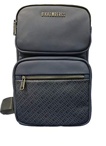 Bikkembergs Bolso de hombre tejido E81003 color azul marino 20 x 32 x 8,5 bolso de hombre casual colección 2021
