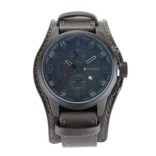 Curren Herren Sport Quarzuhr Kalender Uhren Big Dial Lederband Armbanduhr